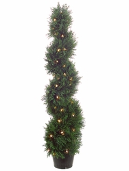 4' Artificial Spiral Cedar Topiary Plant x 692 with 70 Clear Lights in Plastic Pot - Set of 2