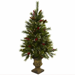 4� Christmas Tree w/Berries, Pine Cones, LED Lights & Decorative Urn