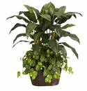 4' Double Bird of Paradise in Decorative Vase & Pothos Silk Plant