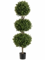 4' Triple Ball Artificial Boxwood Topiary in Plastic Pot