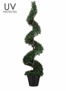4' UV Protected Plastic Boxwood Spiral Artificial Topiary in Pot - Set of 2