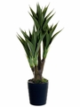 "40"" Artificial Agave Attenuata Plant x 4 Stalks in Black Plastic Pot - Set of 4"