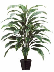"40"" Artificial Cordyline Plant x 4 in Black Round Plastic Pot - Set of 4 (shown in green/white)"