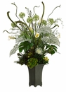 "43"" Artficial Protea/ Echeveria/Silk Fern Arrangement in Resin Pot"