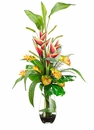 "44"" Artificial Heliconia, Anthurium and Foxtail Grass Arrangement in Glass Vase"