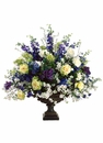 "46"" Artificial Delphinium Flower, Candytuft,Blossom and Veronica in Resin Urn"