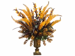 48' Artificial Canna/Foxtail/Protea Arrangment in Resin Urn