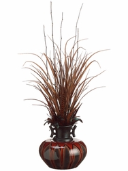 "48"" Tall Artificial Grass and Feather Arrangement in Ceramic Vase"