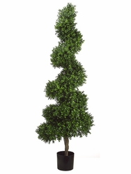 5.5' Artificial Spiral Boxwood Topiary Plant in Plastic Pot Two Tone Green