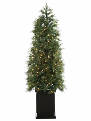 5' Artificial Cedar Topiary Tree with 200 LED Lights