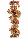 5' Artificial Maple leaf and Berry Garland - Set of 2