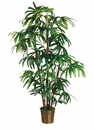 5' Artificial Rhapis Palm x5 with 65 Leaves in Basket - Set of 2