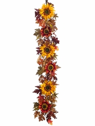 5' Artificial Silk Sunflower and Berry Garland - Set of 2