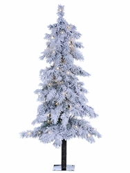 5' Artificial Snowy Rocky Mountain Pine Tree x 174 with 150 Clear Lights on Metal Stand