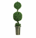 5' Double Ball Leucodendron Topiary w/Decorative Vase (Indoor/Outdoor)