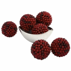 "5"" Red Berry Decorative Balls (Set of 6)"