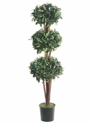set of 2 - 5' Triple Ball Silk Ficus Topiary Tree in Pot