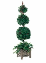 5' Triple Ball Silk Ivy Topiary in Wooden Designer Container