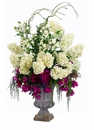 "55"" Large Silk Hydrangea, Peony Flowers, Rose and Artificial Thorn Vine in Tin"