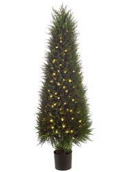 "58"" Artificial Cedar Topiary Tree in Plastic Pot with 200 Led Lights"