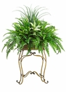 "58"" Artificial Plant with Grass, Fern  bushes and Aglaonema in Metal Plant Stand"