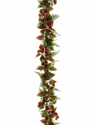 6' Artificial Coleus and Fern Garland Strand -Set of 6