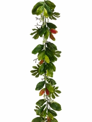 6' Artificial Magnolia, Fatsia and Eucalyptus Seed Garland-Set of 2