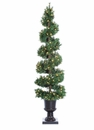 6' Artificial Mixed Pine Spiral Tree x 536 with 150 Clear Lights in Plastic Urn