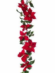 6' Artificial New Majestic Velvet Poinsettia Garland in Red - Set of 4