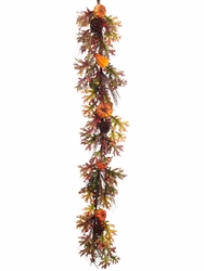 6' Artificial Pumpkin, Berry and Pine Cone Fall  Style Garland - Set of 2