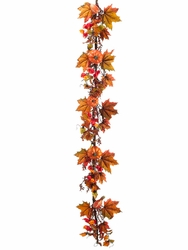 6' Artificial Pumpkin, Chinese Lantern Flowers and Berry Fall Garland - Set of 2