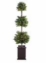 6' Artificial Triple Ball PVC Topiary x 308 with 140 Clear Light in Wood Box Container
