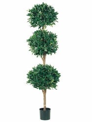 6' Artificial Triple Ball Sweet Bay Topiary Tree in Pot - Set of 2