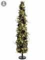 "60"" Artificial Anemone Flowers, Christmas Roses and Cones and Berry Topiary Tree with Metal Stand"