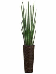 """60"""" Artificial Snake Grass Plant in Bamboo-Rope Decorative Container"""