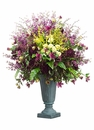 "61"" Artificial Delphinium, Silk Roses and Dahlia Blossoms in Urn"