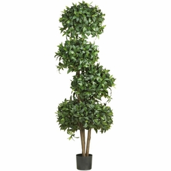 "69"" Sweet Bay Topiary w/4 Balls Silk Tree"
