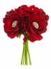 "7.5"" Rhinestone Velvet Rose and Hydrangea Flower Bouquet - Set of 6"