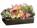 "7"" Silk Protea Flower and Cymbidium Orchid with Artificial Sedum in Ceramic Tray"