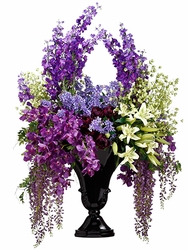 """71"""" Large Artificial Lily,Orchid, Wisteria and Delphinium Silk Flower Arrangement in Resin Vase"""