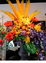 "72"" Artificial Eremurus, Silk Dahlia, Orchid and Poppy Flowers in Urn"