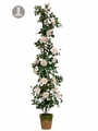"72"" Artificial Silk Rose Topiary in Cement Pot"