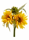 "8.5"" Artificial Silk Sunflower and Fern Plant Bouquet - Set of 12"