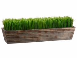 "8"" Artficial Grass in Wood Planter - Set of 2"