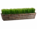 "Set of 2 - 8"" Artficial Grass Ledge Plant in Wood Planter"