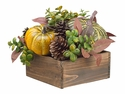 "8"" Artificial Holiday Pumpkin and Pine Cone in Wood Container Arrangement"