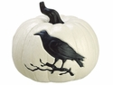 "8"" Artificial White Crow Pumpkin - Set of 2"