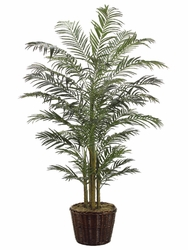 8' SILK ARECA PALM IN WILLOW PLANTER