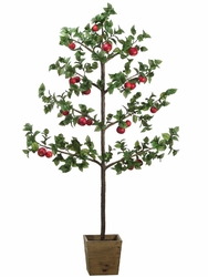 "81"" Artificial Apple Tree Plant in Wood Container"