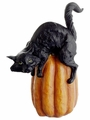 "9"" Artificial Black Cat on Pumpkin - Set of 6"